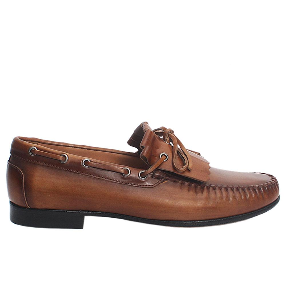 Brown alcobe fringed Italian leather loafers