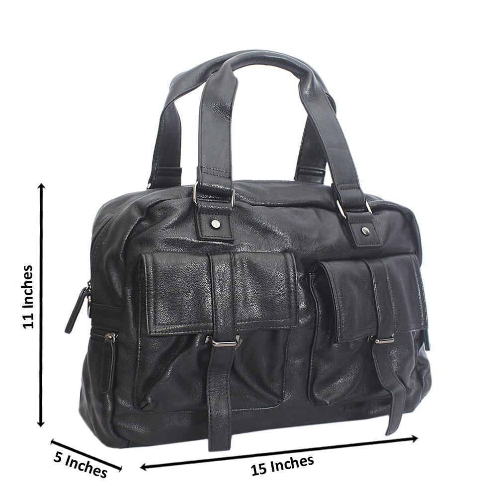 Amigo Black Double Pocket Cassania Leather Man Bag