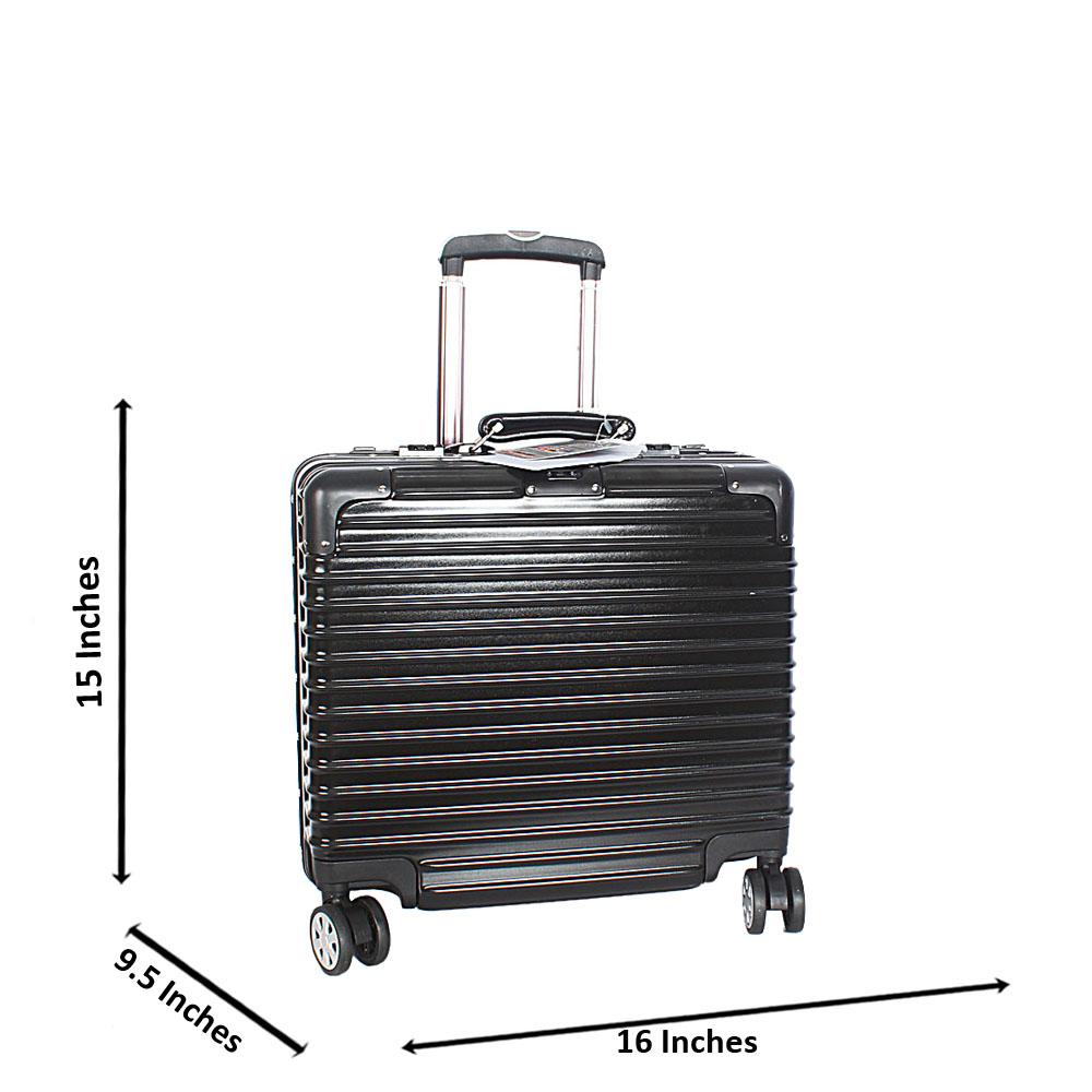 Black 14 Inch Hard Shell 4 Wheels Spinners Pilot Suitcase