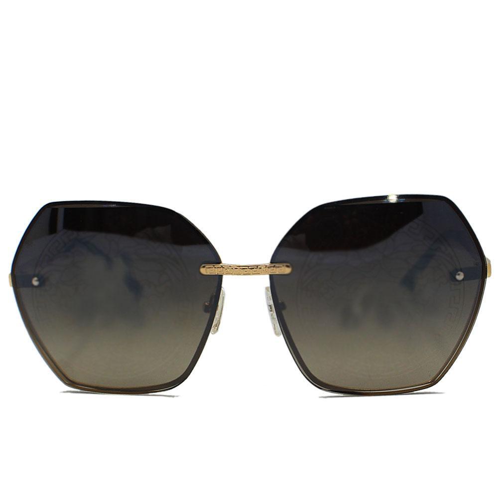 Gold Woman Oversize Rimless Hexagon Sunglasses