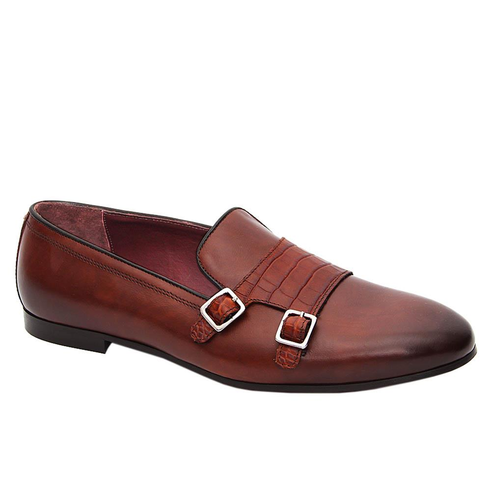 K Geiger Brown Harrison Leather Buckle Loafers