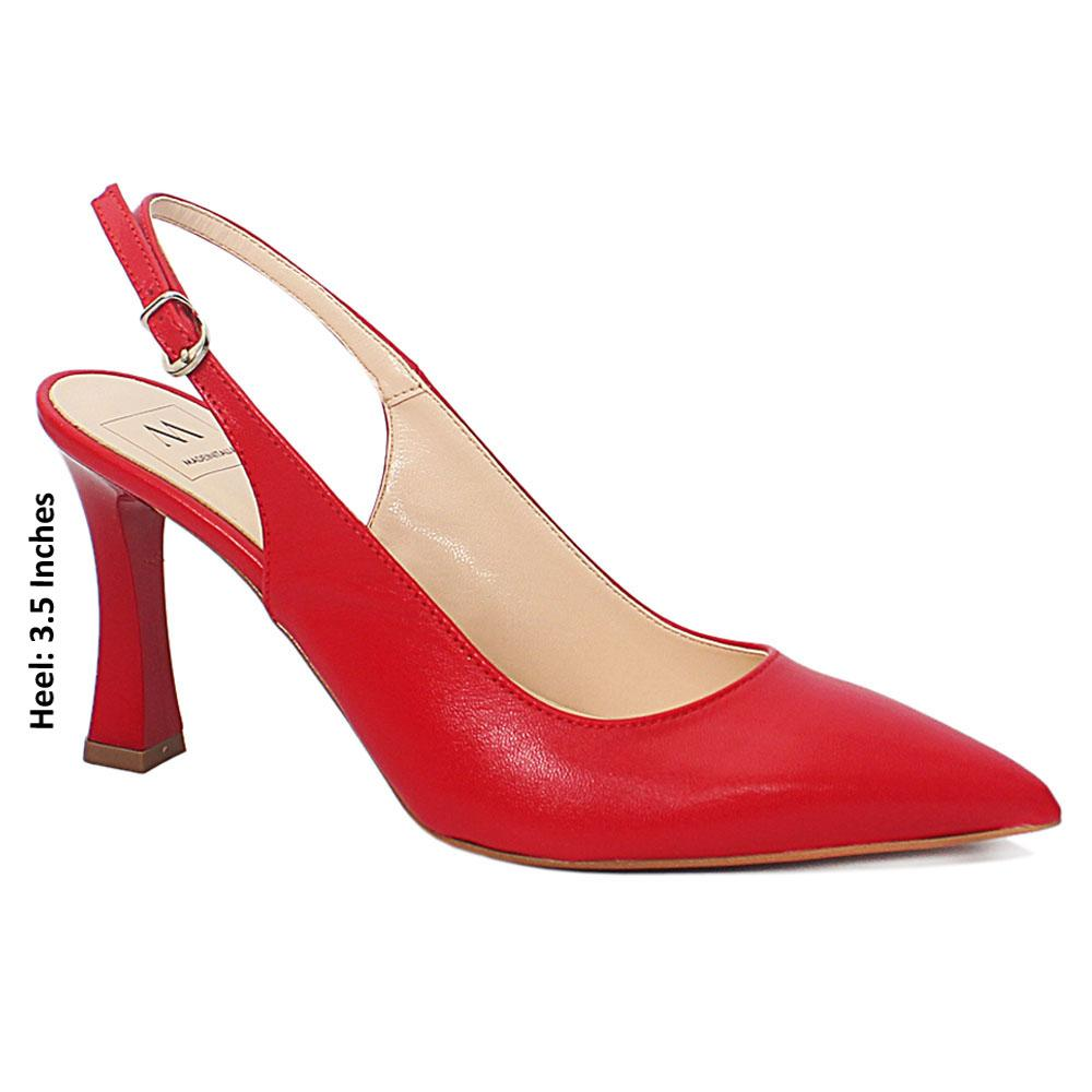 Red Leather Slingback Heels