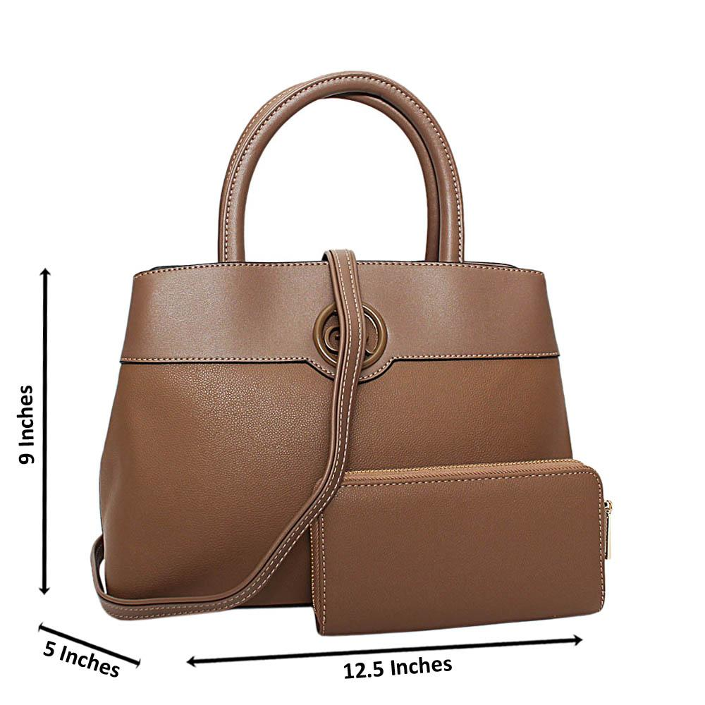 Light Brown Esmeralda Leather Medium Tote Handbag