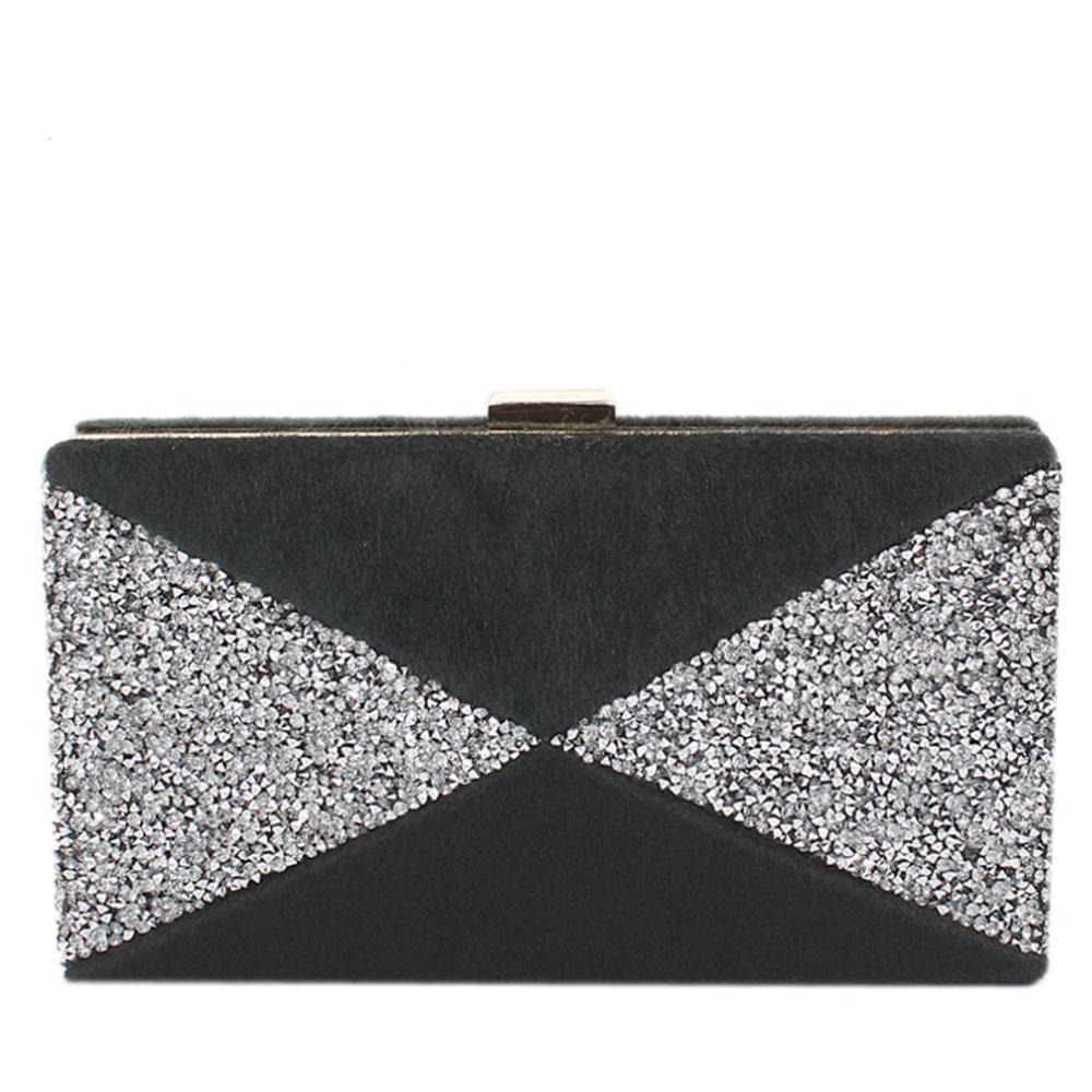 Black Furry Glitz Premium Hard Clutch