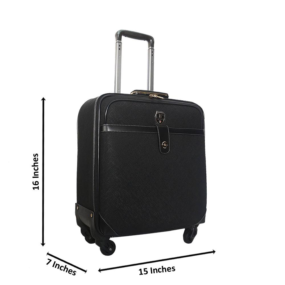 Black 16 Inch Leather Pilot Suitcase Wt Lock