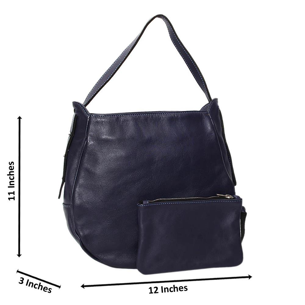 Navy Casiana Cowhide Leather Medium Hobo Handbag