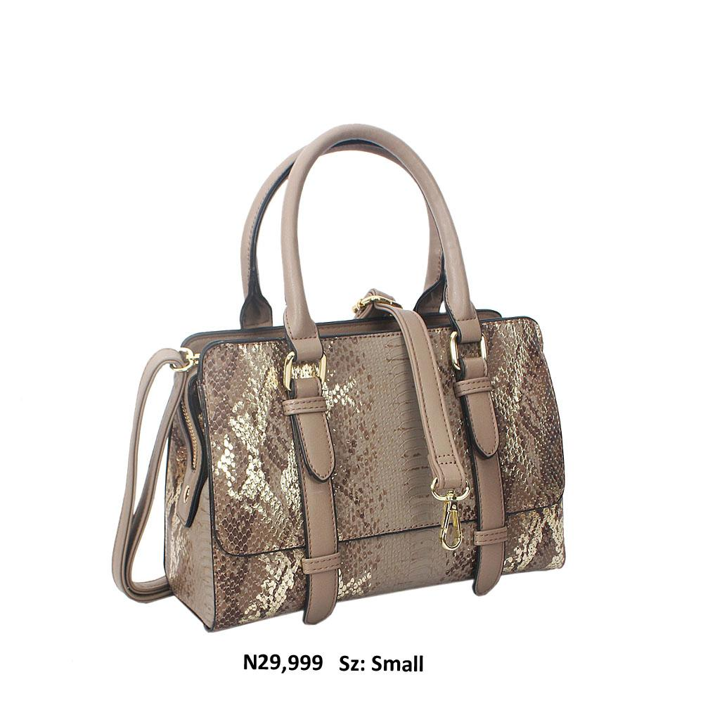Khaki Nadia Gold Snakeskin Style Leather Tote Handbag