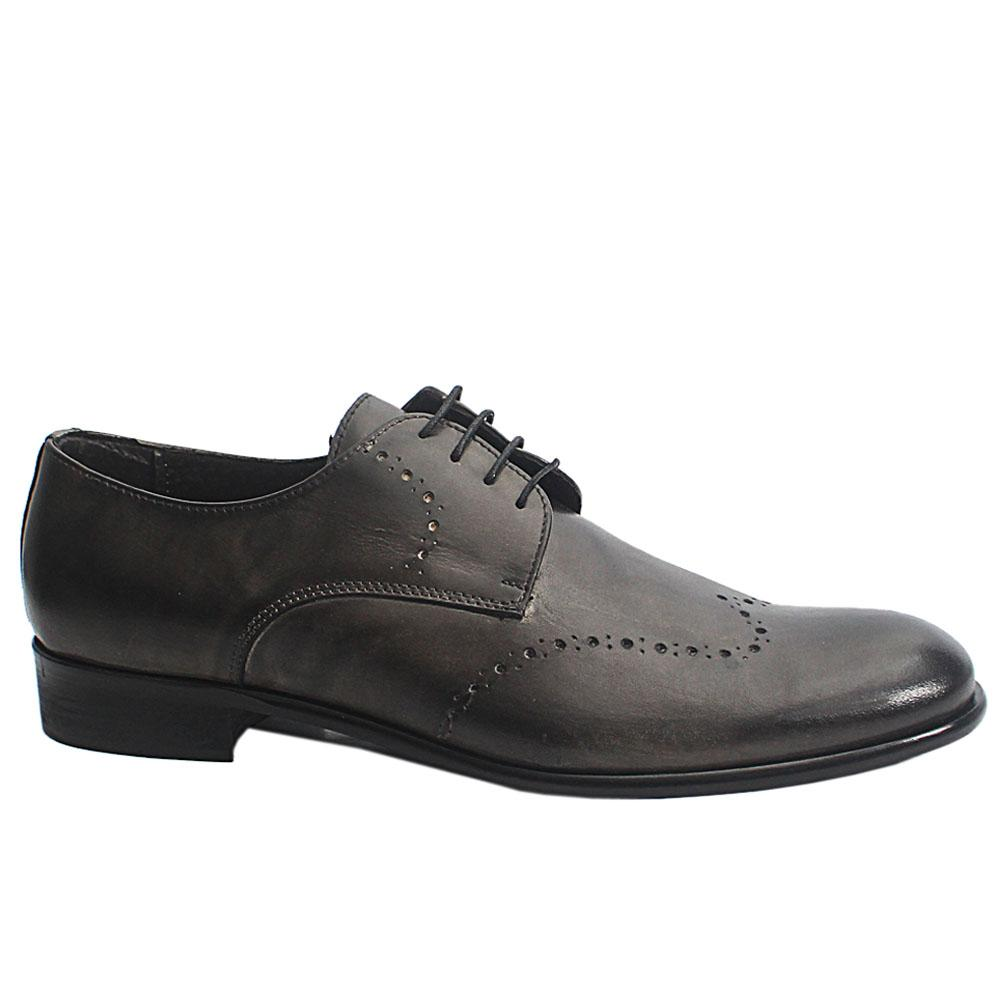 Blackish Gray Elio Italia Leather Men Derby Shoes