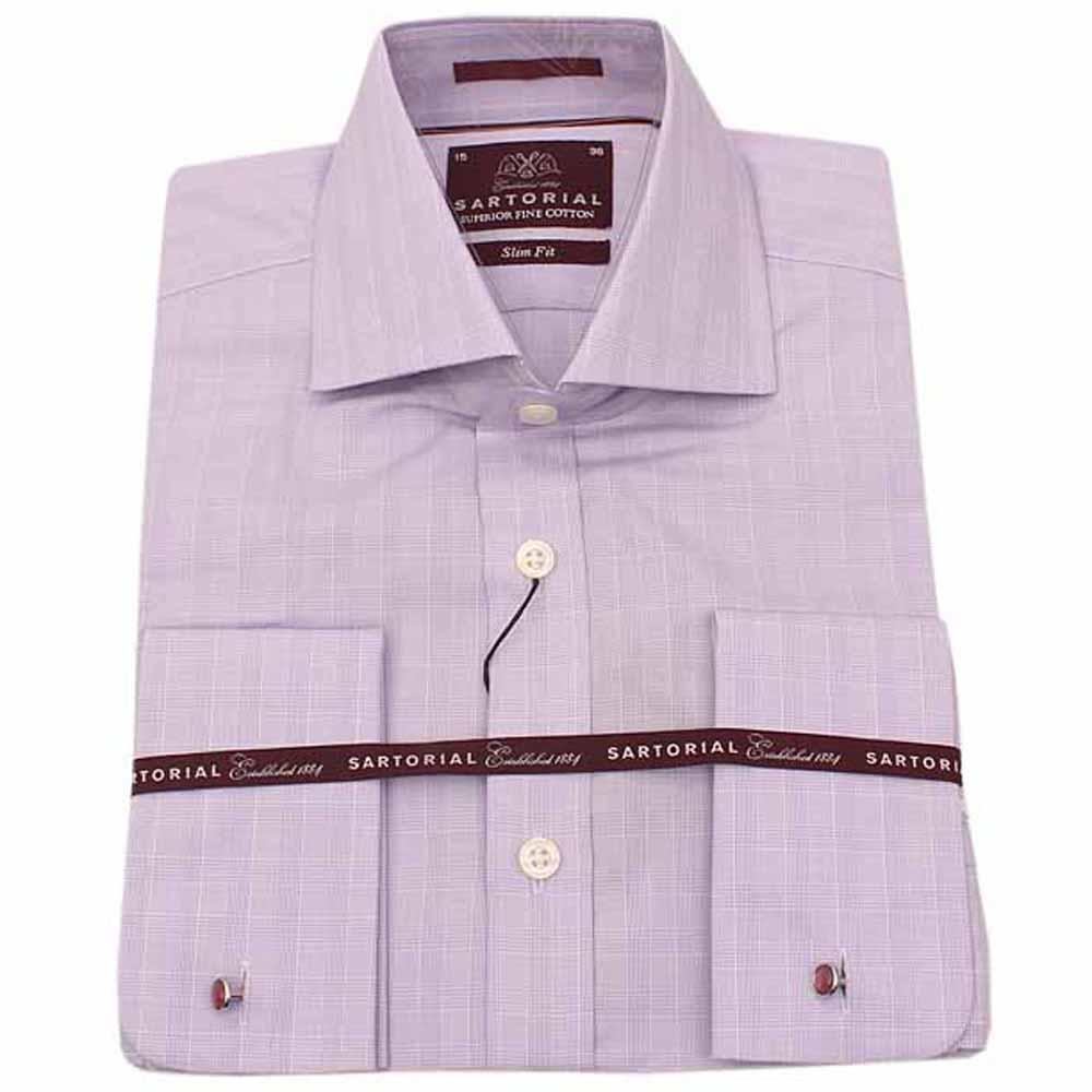Purple Regular Fit Men L Sleeve Shirt Wt Cuff Sz 16