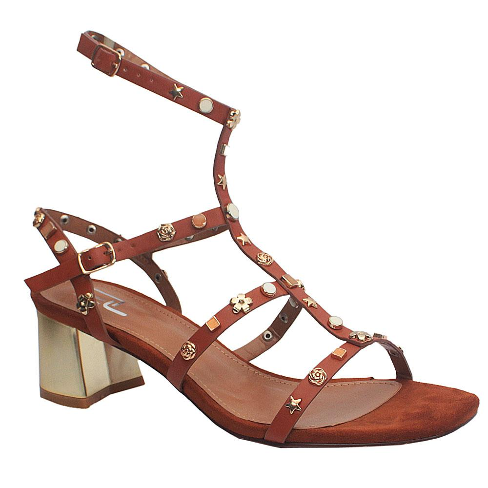 Sz 40 Lublin Brown Studded Leather Block Heel Gladiator Sandals