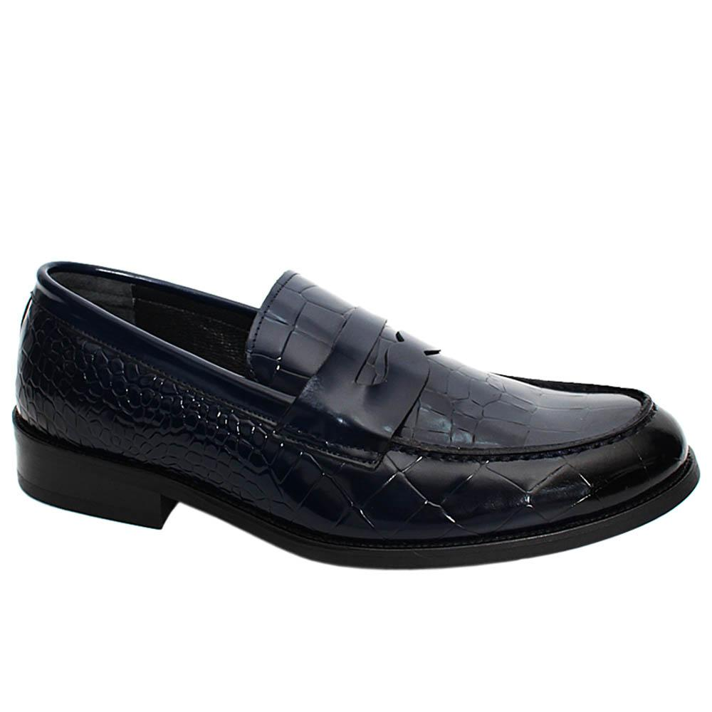 Navy Mason Croco Styled Leather Men Penny Loafers