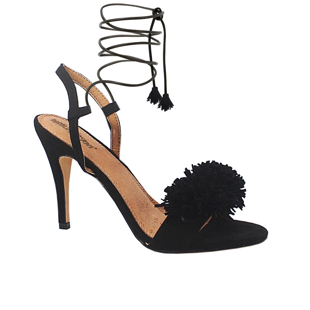 Black Luciana Suede Leather Slipon Heel Sandals