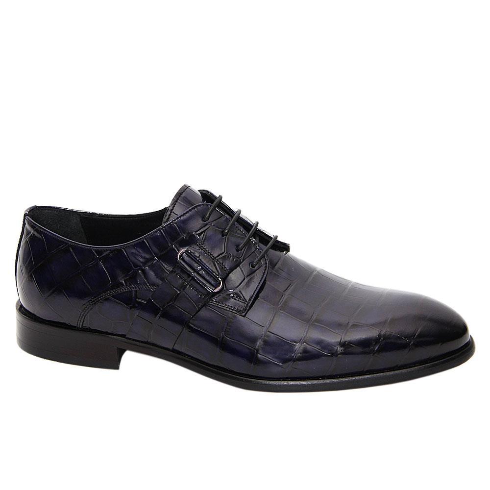 Dark Navy Anastacio Italian Leather Derby Shoe