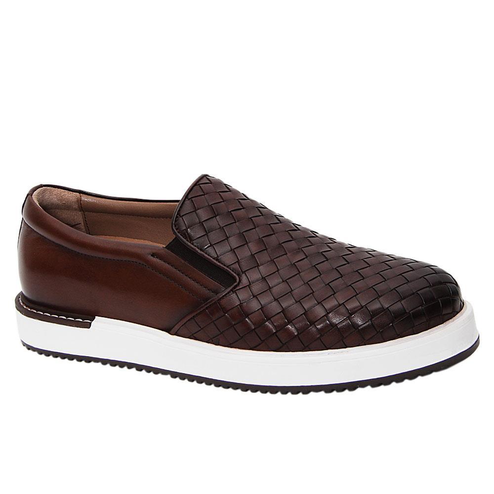 Coffee Gregory Woven Italian Leather Slip-On Sneakers