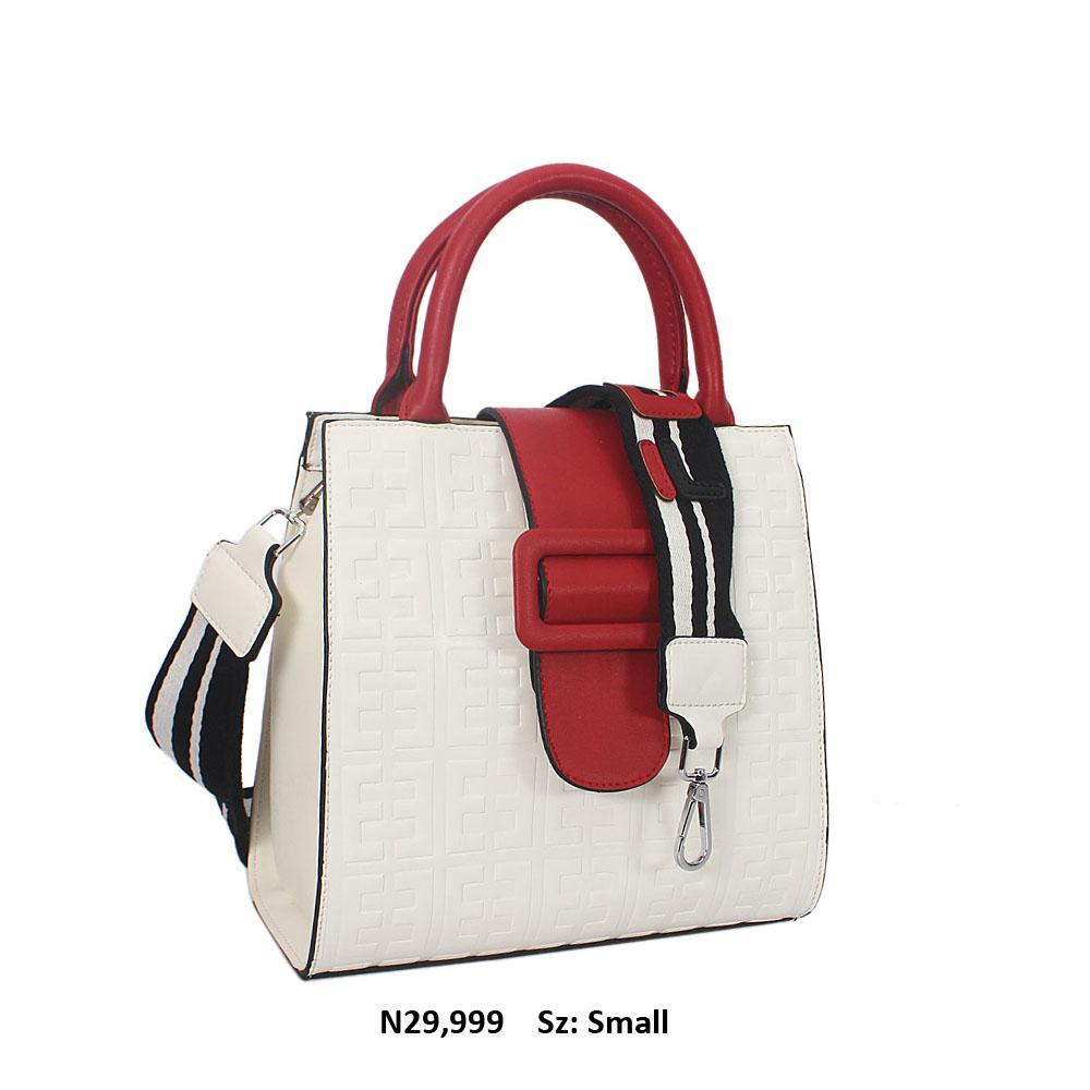 Maroon White Embossed Leather Small Tote Handbag