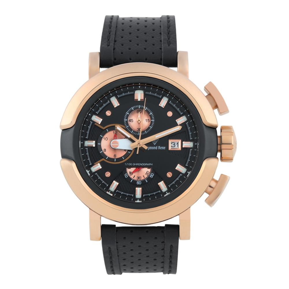 Black Rose Gold Leather Chronograph Watch