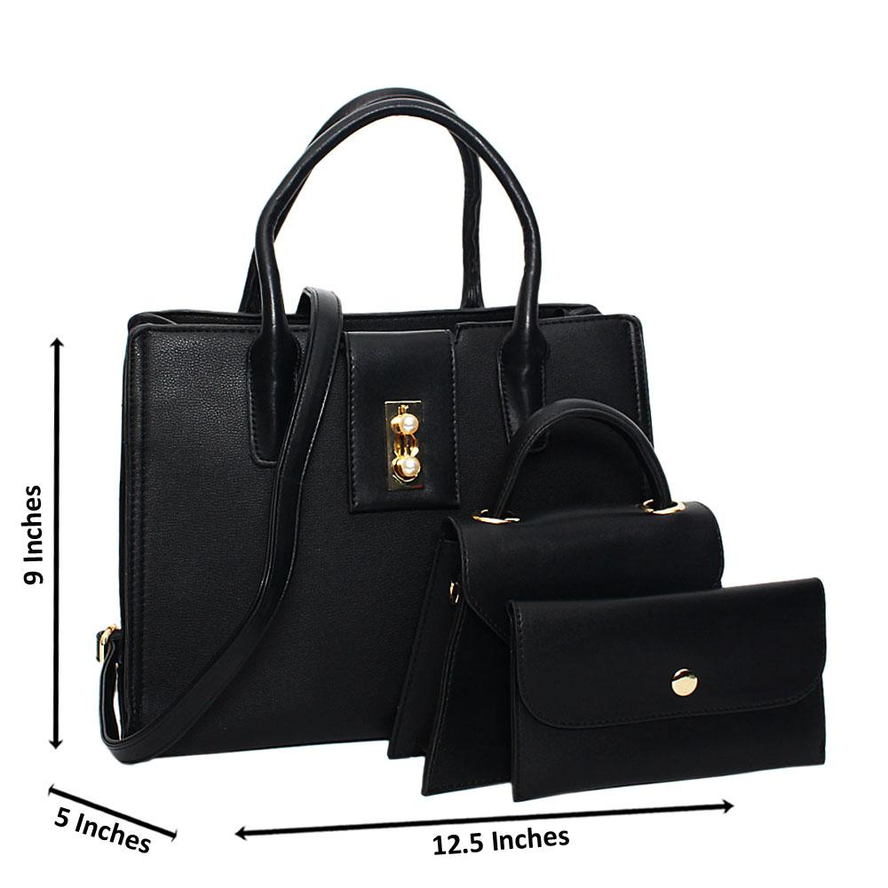 Black Tessa Leather Medium 3 in 1 Tote Handbag