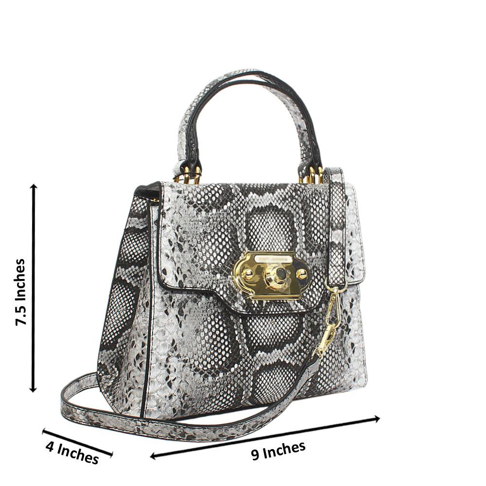 Gray Wite Snake Styled Leather Small Top Handle Handbag