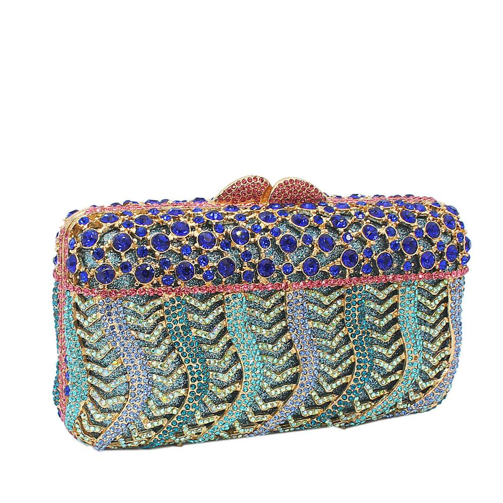 Multicolor Pearl Embelished Diamante Crystals Clutch Purse
