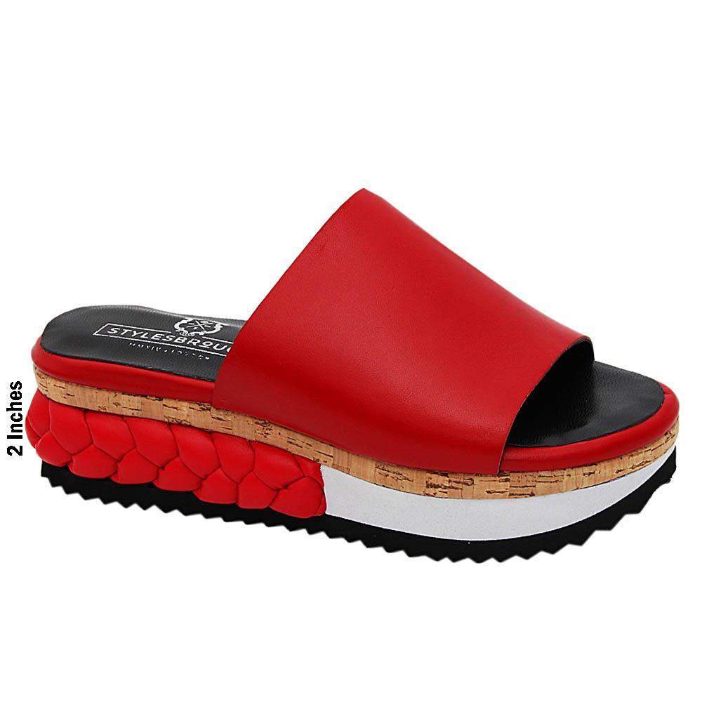 Red Eliana Italian Leather Wedge Heel