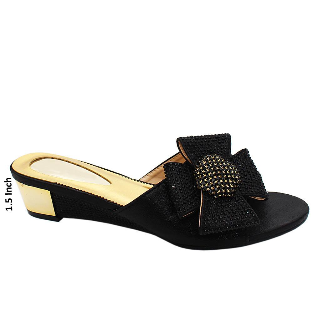 Black Olivia Studded Leather Wedge Heels
