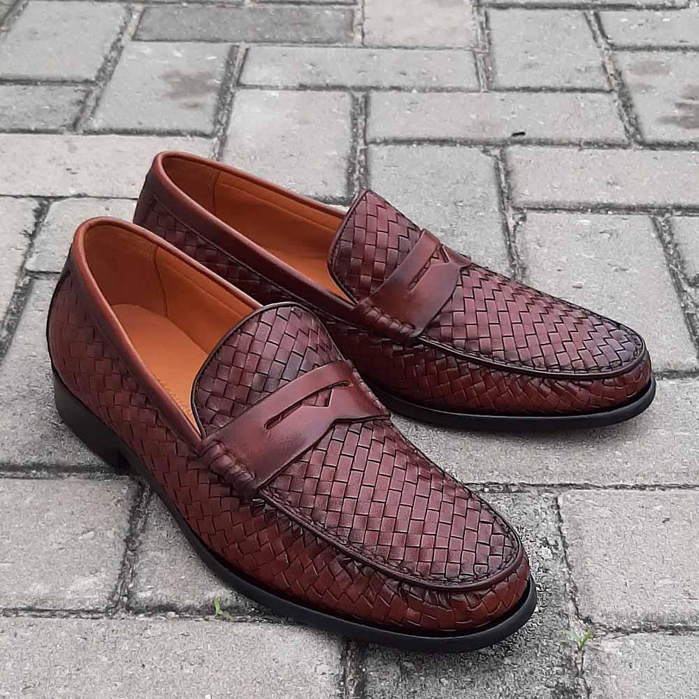 Brown Alberto Woven Italian Leather Men Loafers