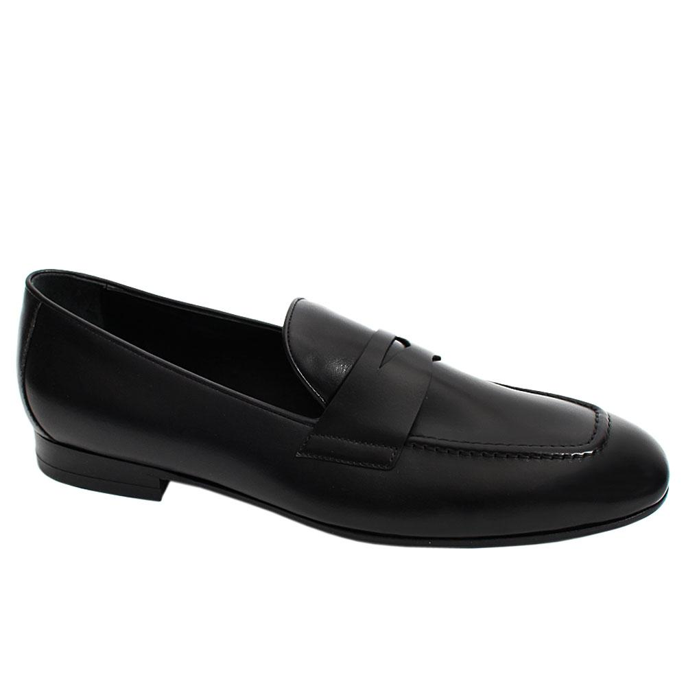 Black Scala Italian Leather Men Penny Loafers