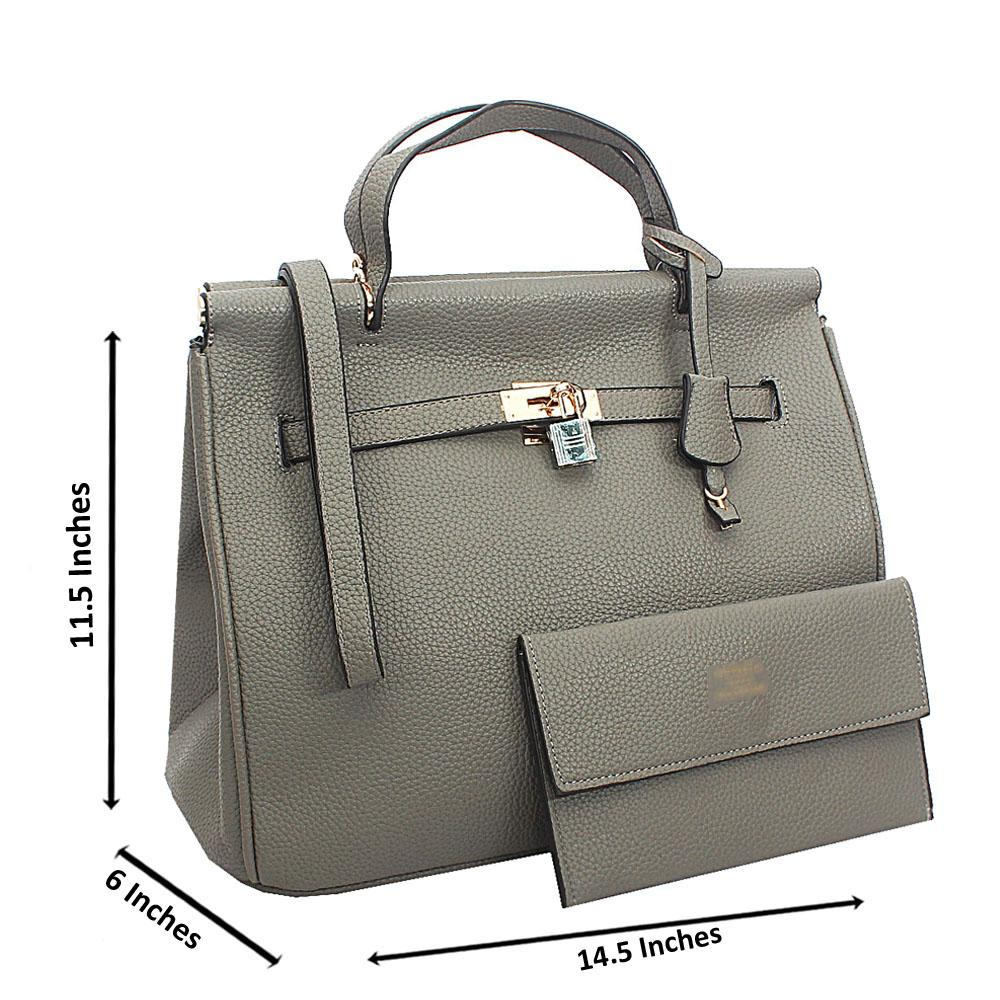 Grey Cow-Leather Tote Handbag