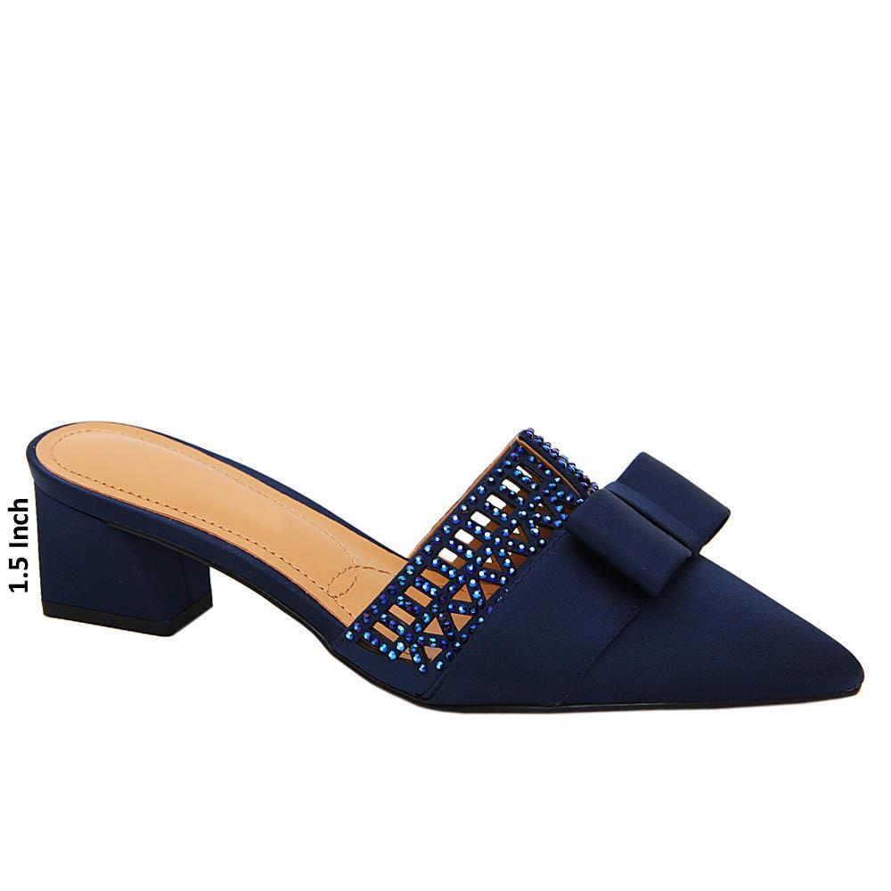 Navy Leah Studded Satin Leather Low Heel Pumps