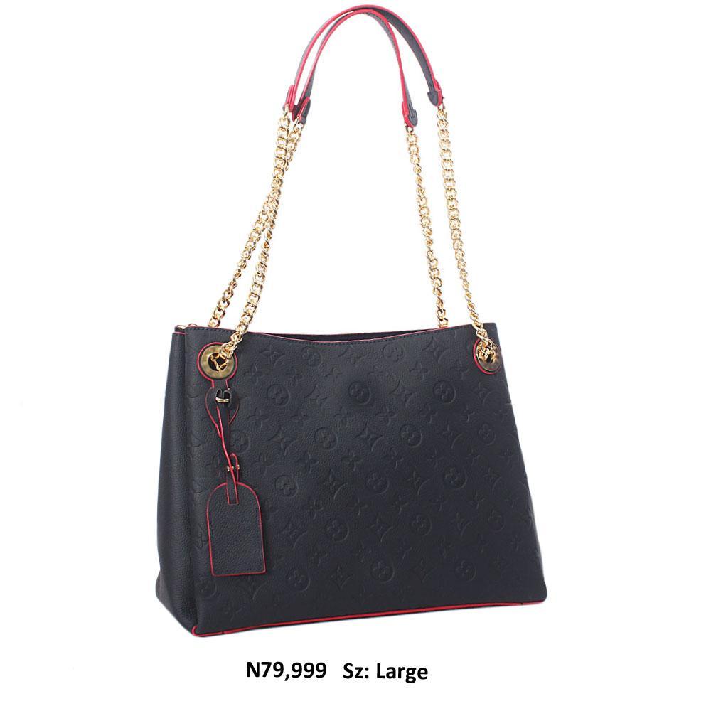 Navy Blue Briony Leather Chain Handle Shoulder Handbag