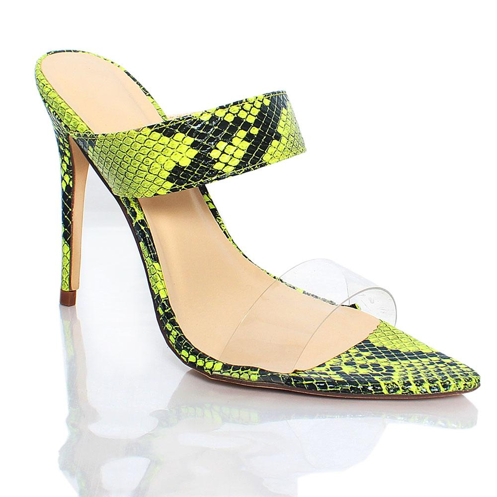 Green Snake Skin AM Liz Leather 4.2 Inch High Heel Slippers