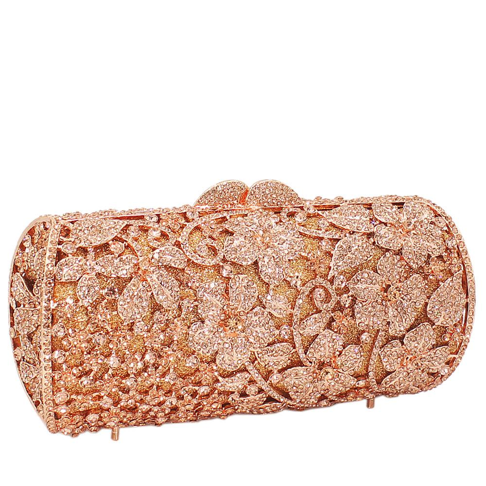 Rose Gold Diamante Crystal Clutch Purse