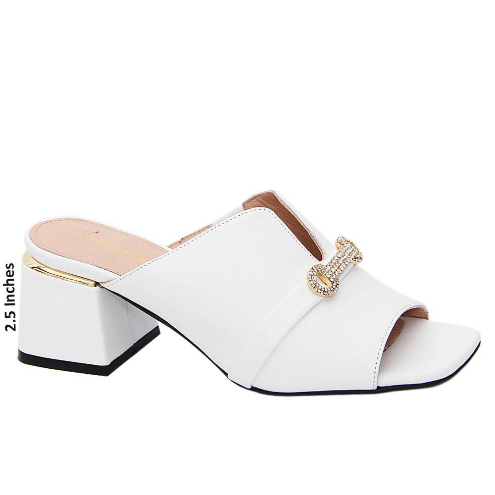 White Catalina Tuscany Leather Mid Heel Mule