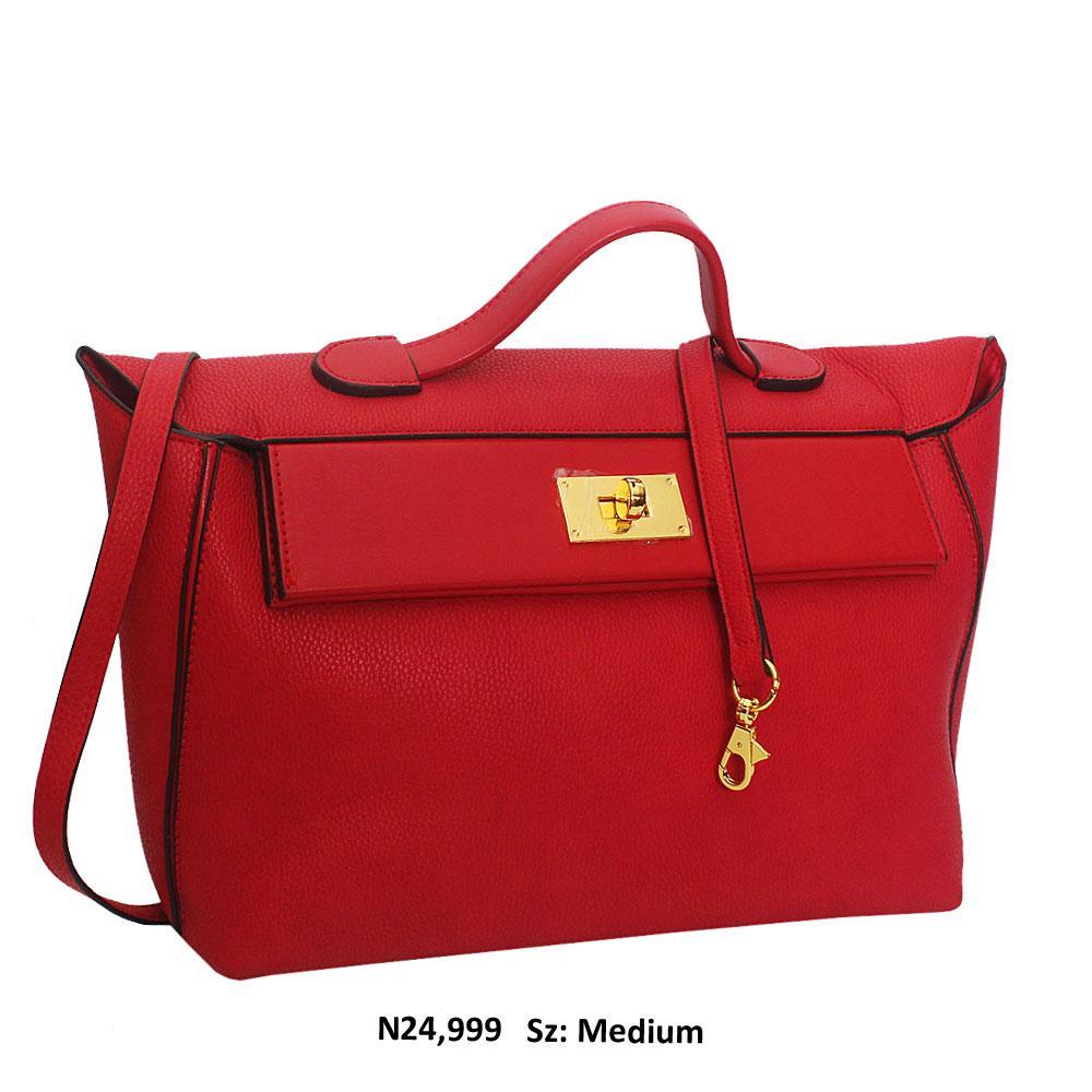 Red Leather Top Handle Handbag