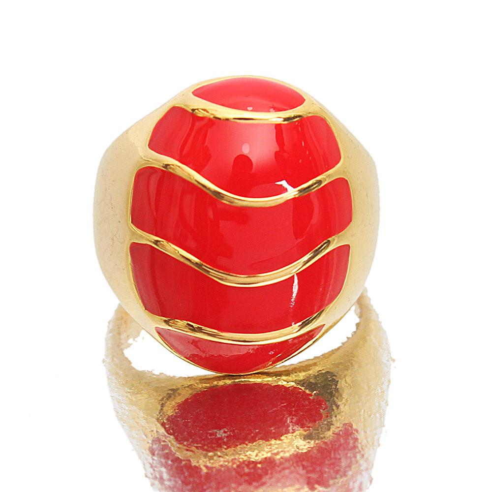 Gold Steel Red Vintage Ladies Ring Sz X