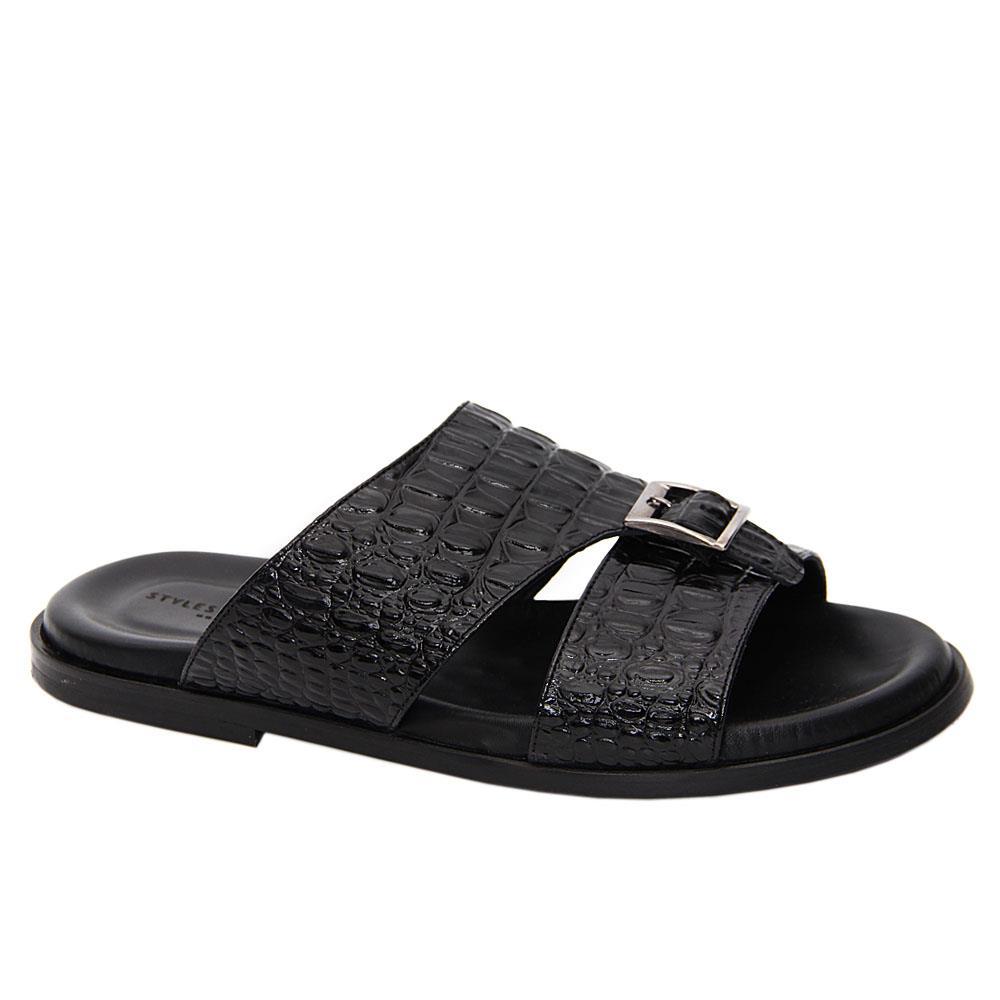 Black Xhaka Italian Leather Slippers