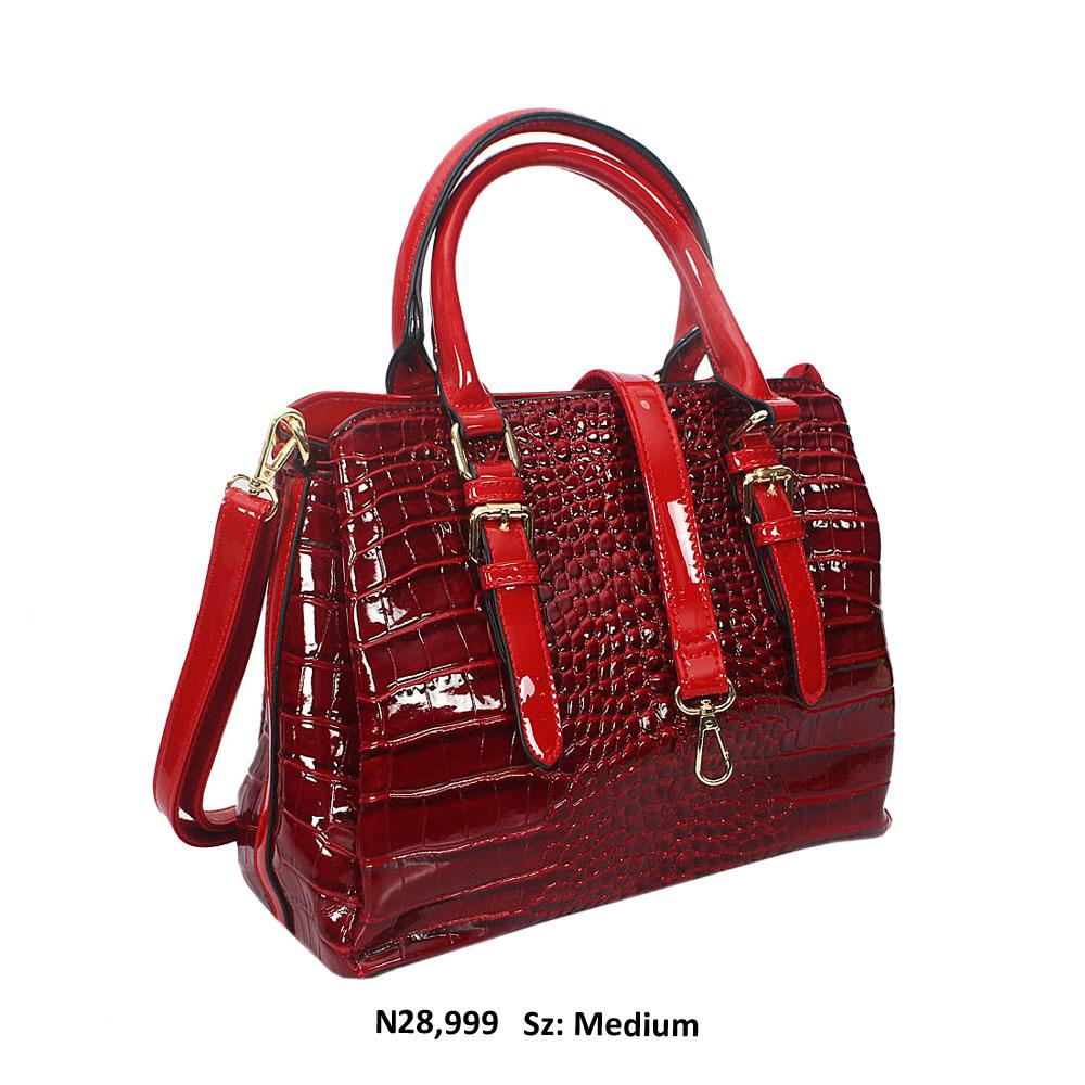 Burgundy Frida Croc Style Patent Leather Tote Handbag