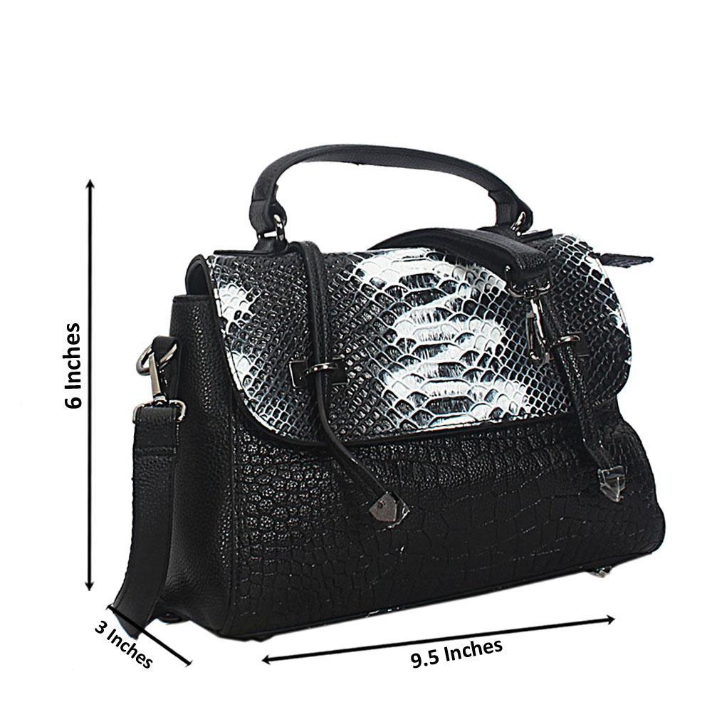Black White Mix Skylar Croc Leather Mini Top Handle Bag