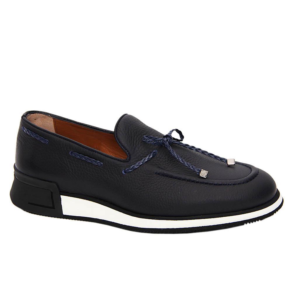 Dark Navy Albert Italian Leather Comfort Sole Sneakers