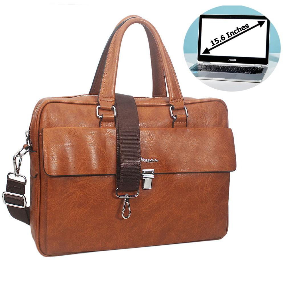 Brown Bruno Leather Flap Buckle Briefcase