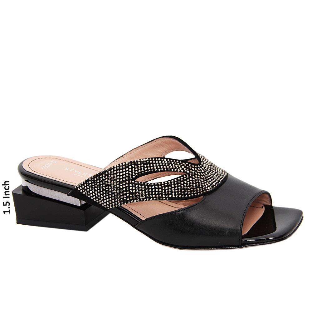 Black Avena Studded Tuscany Leather Low Heel Mule