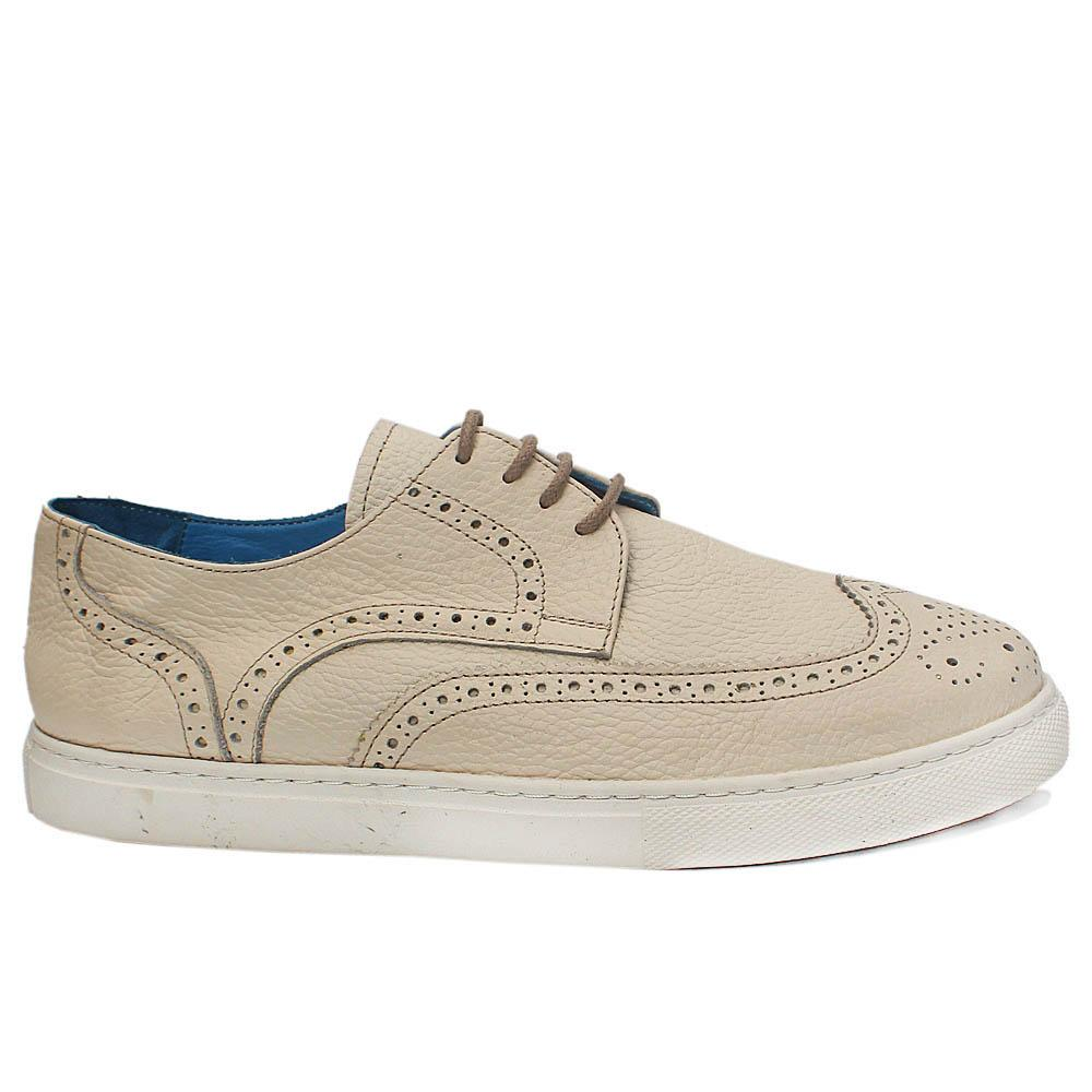 Reed Off White Leather Brogue Shoes