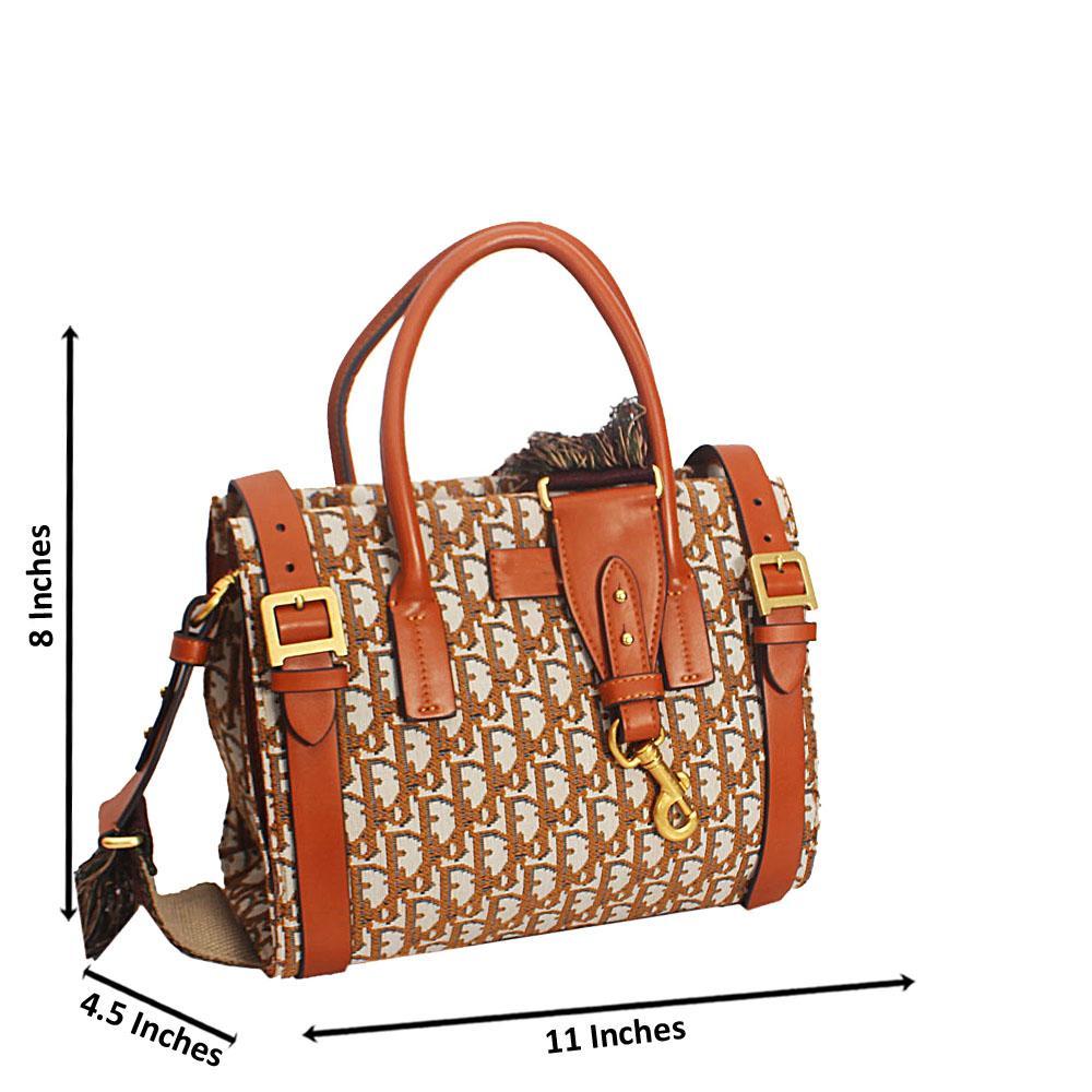 Brown Print Giacinta Buckle Styled Woven Fabric Leather Tote Handbag
