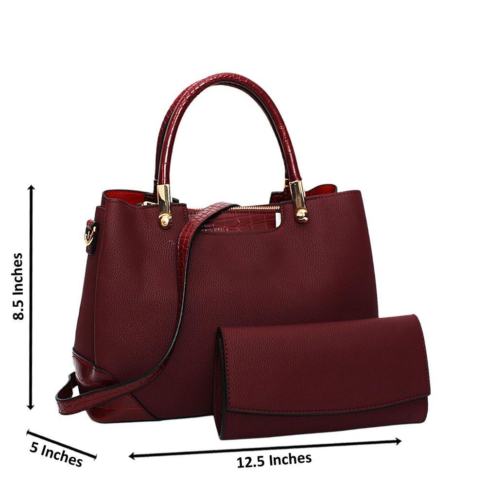 Burgundy Soraya Leather Medium Tote Handbag