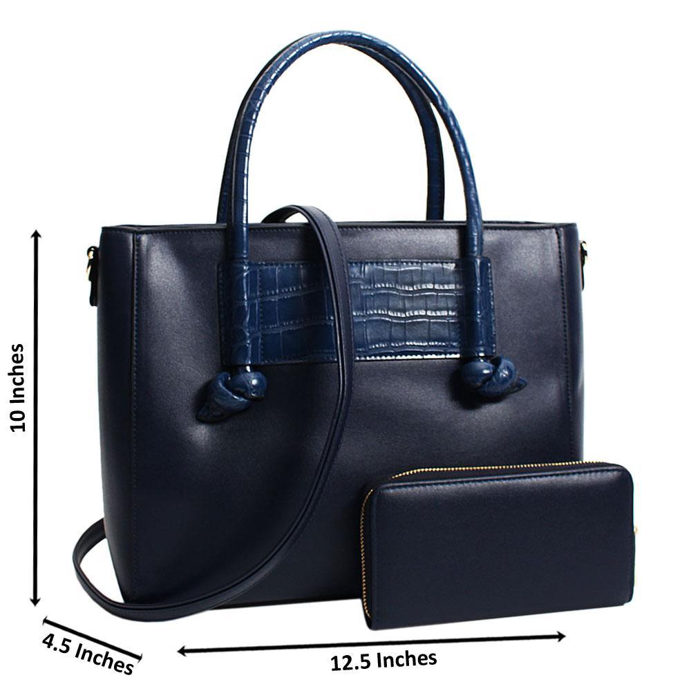 Navy Neomi Mix Croc Leather Large Tote Handbag