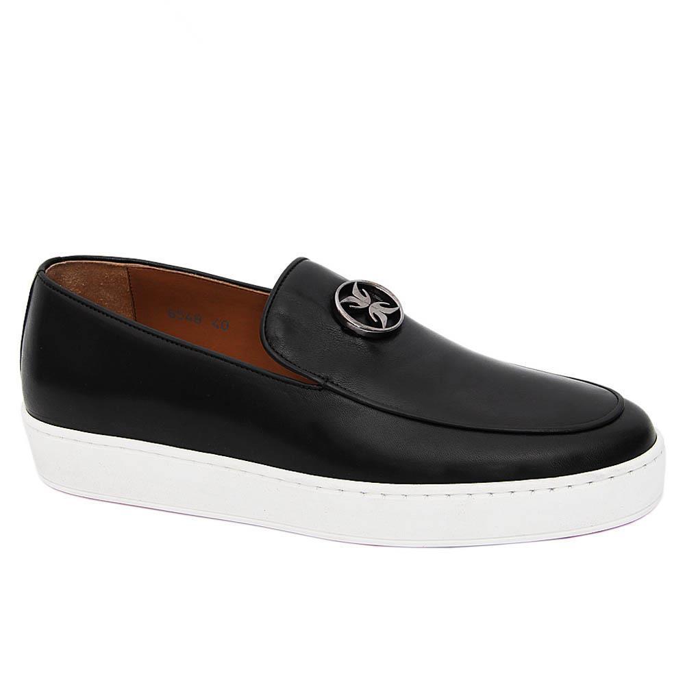 Black Eriksen Italian Leather Slip-On Sneakers