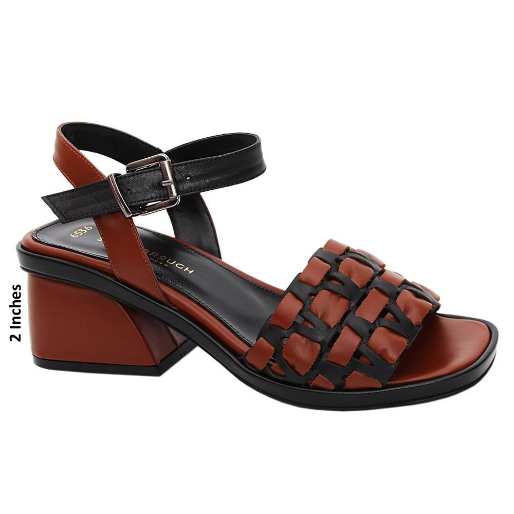 Brown Black Maya Tuscany Leather Mid Heel Sandals