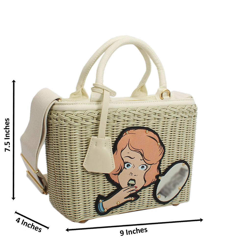 Discounted Off-White Basket Fabric Handbag due to Slight Cargo Damage
