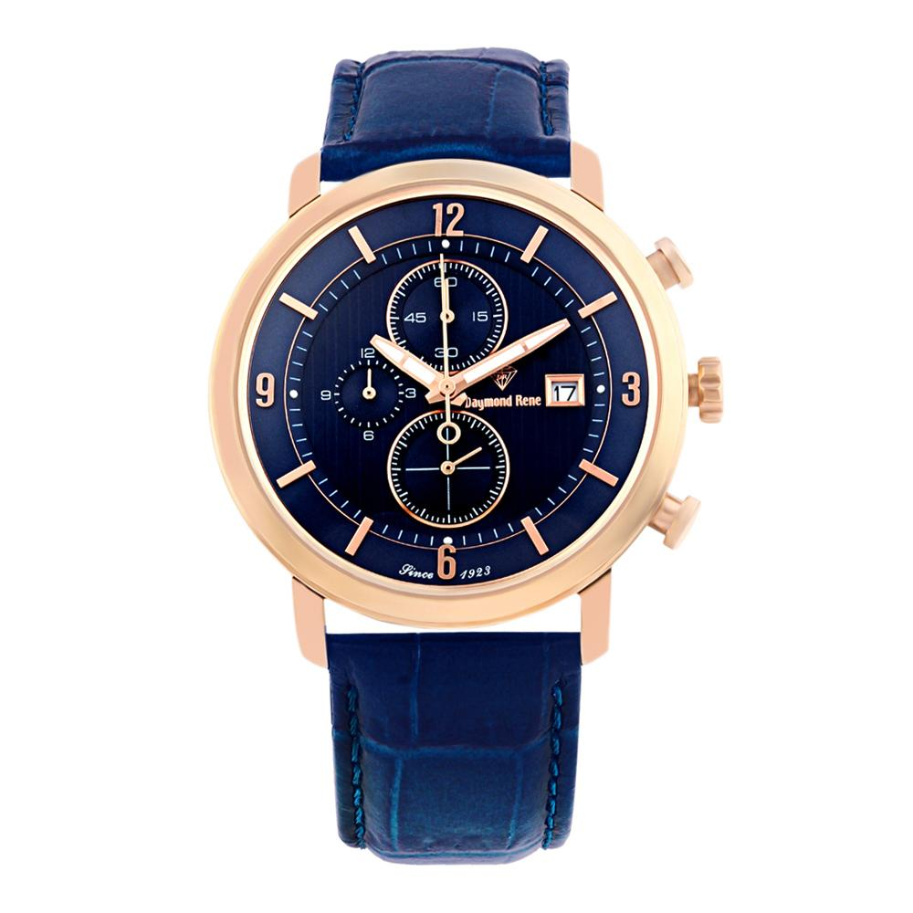 DR 5ATM Blue Rose Gold Leather Chronograph Watch