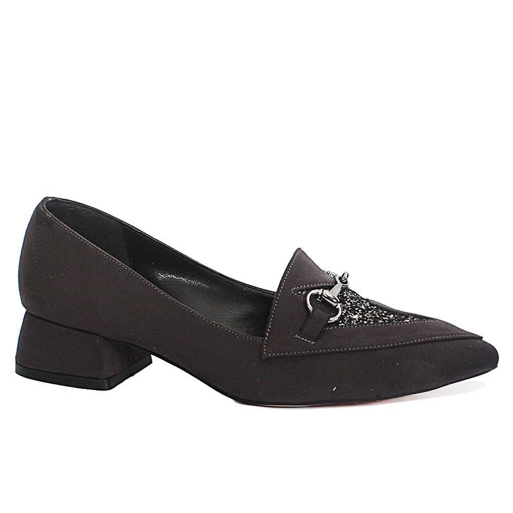 Dark Gray Low Heel Suede Leather Ladies Shoes